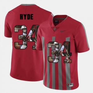 OSU #34 Mens CameCarlos Hyde Jersey Red Pictorial Fashion Official 550465-381