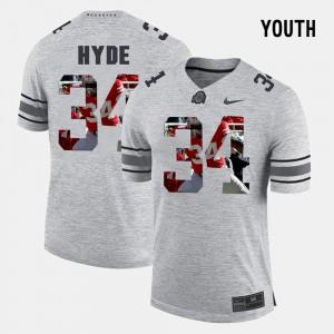 OSU Buckeyes #34 Youth(Kids) CameCarlos Hyde Jersey Gray Official Pictorital Gridiron Fashion Pictorial Gridiron Fashion 370230-957