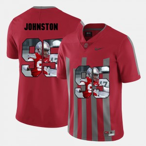 Ohio State Buckeye #95 Mens Cameron Johnston Jersey Red Official Pictorial Fashion 559452-391