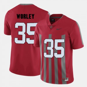 Buckeye #35 For Men's Chris Worley Jersey Red College Football Official 444016-330
