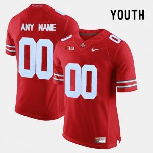 Ohio State #00 Kids Custom Jerseys Red Stitch College Limited Football 915407-213