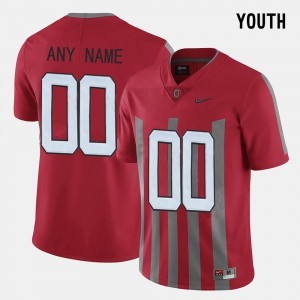 Ohio State #00 Kids Customized Jerseys Red Player Throwback 889139-423