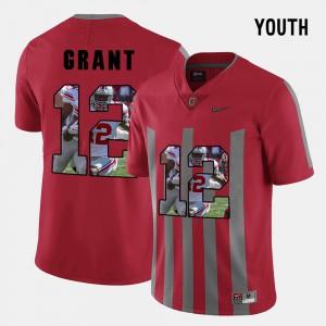 Ohio State Buckeye #12 Kids Doran Grant Jersey Red Pictorial Fashion Alumni 294037-644