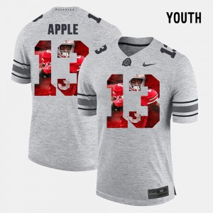 OSU Buckeyes #13 Youth(Kids) Eli Apple Jersey Gray Alumni Pictorial Gridiron Fashion Pictorital Gridiron Fashion 607639-353