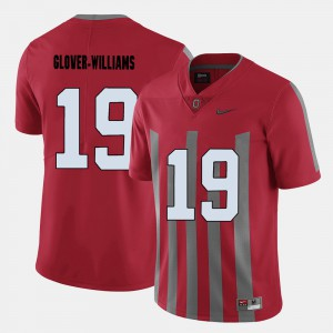Buckeye #19 Mens Eric Glover-Williams Jersey Red College Football Player 484883-411