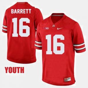 Buckeyes #16 Kids J.T. Barrett Jersey Red Embroidery College Football 128350-902