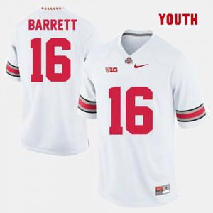 OSU #16 For Kids J.T. Barrett Jersey White Embroidery College Football 580983-989