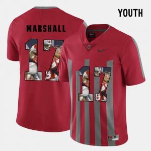 OSU Buckeyes #17 Youth(Kids) Jalin Marshall Jersey Red Pictorial Fashion University 733890-436