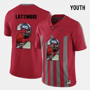 Ohio State Buckeyes #2 Youth Marshon Lattimore Jersey Red High School Pictorial Fashion 953579-344