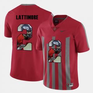 Ohio State #2 Men's Marshon Lattimore Jersey Red University Pictorial Fashion 464586-590