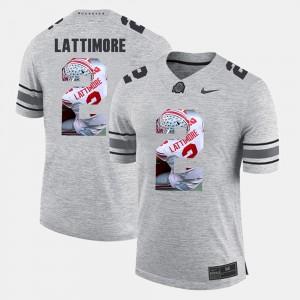 Buckeyes #2 Mens Marshon Lattimore Jersey Gray Pictorial Gridiron Fashion Pictorital Gridiron Fashion Embroidery 683600-481
