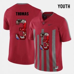 Buckeyes #3 Youth(Kids) Michael Thomas Jersey Red High School Pictorial Fashion 799167-473