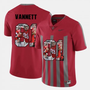 Ohio State Buckeye #81 Mens Nick Vannett Jersey Red Stitched Pictorial Fashion 343606-683