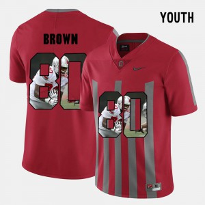 Ohio State #80 Kids Noah Brown Jersey Red Stitch Pictorial Fashion 512857-125