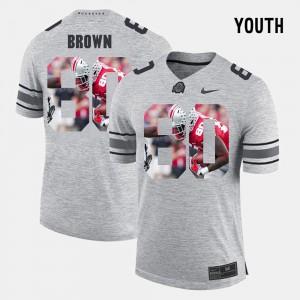 OSU #80 Youth(Kids) Noah Brown Jersey Gray Stitch Pictorial Gridiron Fashion Pictorital Gridiron Fashion 130495-306