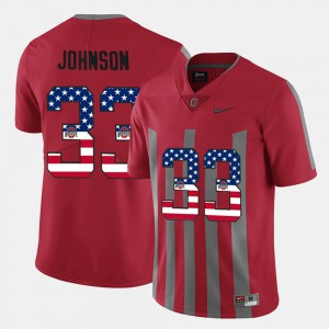 Ohio State Buckeye #33 For Men Pete Johnson Jersey Scarlet US Flag Fashion Official 388531-196