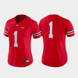 Buckeyes #1 Ladies Jersey Scarlet College Football Game Embroidery 200833-324
