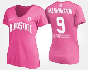 Buckeyes #9 Ladies Adolphus Washington T-Shirt Pink Embroidery With Message 708553-485