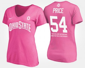 Ohio State #54 For Women Billy Price T-Shirt Pink Alumni With Message 649453-656