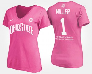 OSU #5 For Women's Braxton Miller T-Shirt Pink With Message NCAA 684239-444