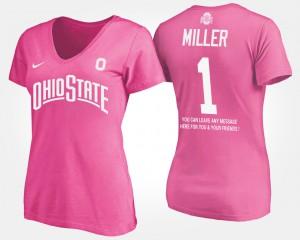 OSU Buckeyes #1 Women's Braxton Miller T-Shirt Pink With Message Alumni 611488-130
