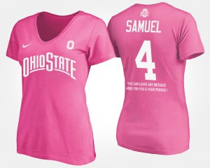 Ohio State #4 For Women's Curtis Samuel T-Shirt Pink High School With Message 669653-202