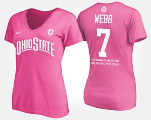 Ohio State #7 Women Damon Webb T-Shirt Pink Player With Message 725919-176