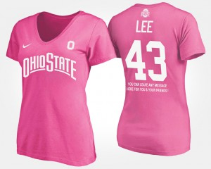 OSU #43 For Women Darron Lee T-Shirt Pink University With Message 606207-456