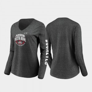 OSU Women's T-Shirt Heather Charcoal Stiff Arm Long Sleeve V-Neck 2019 Fiesta Bowl Bound Stitch 423753-492