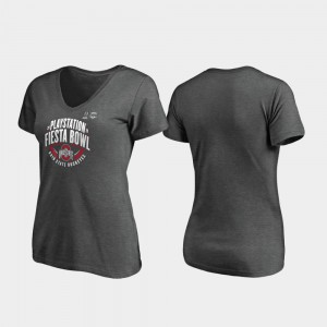 OSU Buckeyes For Women's T-Shirt Heather Gray NCAA 2019 Fiesta Bowl Bound Scrimmage V-Neck 559876-761