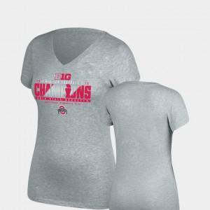 Ohio State Womens T-Shirt Heather Gray Locker Room V-Neck Top of the World 2018 Big Ten Football Champions Alumni 570337-201
