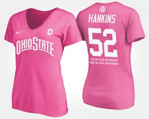 OSU #52 For Women Johnathan Hankins T-Shirt Pink Stitched With Message 838164-555
