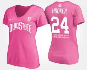 Ohio State #24 Women Malik Hooker T-Shirt Pink Player With Message 663275-928