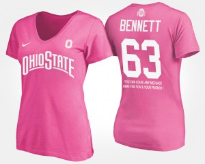 Ohio State Buckeye #63 Women Michael Bennett T-Shirt Pink Official With Message 737253-293