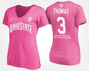 Ohio State #3 Women Michael Thomas T-Shirt Pink Player With Message 829358-730