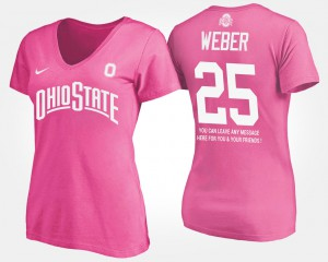 Buckeye #25 Ladies Mike Weber T-Shirt Pink With Message University 919233-692