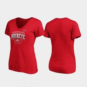 OSU For Women's T-Shirt Scarlet Tackle V-Neck 2019 Fiesta Bowl Bound Stitched 904886-280