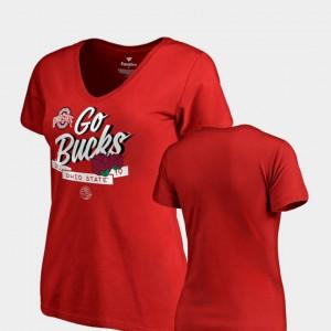 Buckeye Ladies T-Shirt Scarlet Alumni Dime V-Neck 2019 Rose Bowl Bound 113607-628