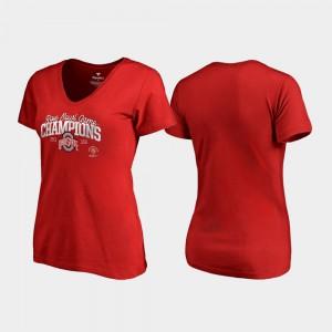 Ohio State Ladies T-Shirt Scarlet Flea Flicker V-Neck 2019 Rose Bowl Champions Stitch 445695-187