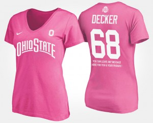 OSU Buckeyes #68 Women Taylor Decker T-Shirt Pink With Message Official 162281-655