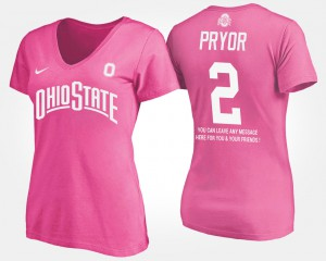 Ohio State Buckeyes #2 For Women's Terrelle Pryor T-Shirt Pink High School With Message 672472-516