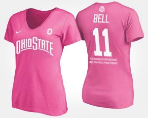 Buckeye #11 Women's Vonn Bell T-Shirt Pink With Message College 691374-811