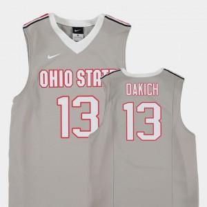 OSU Buckeyes #13 Kids Andrew Dakich Jersey Gray Player Replica College Basketball 990724-174