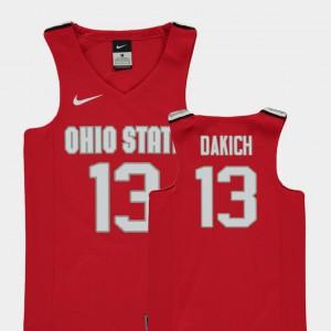 Ohio State #13 For Kids Andrew Dakich Jersey Red NCAA Replica College Basketball 385845-607