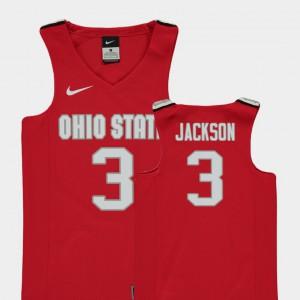 Ohio State Buckeye #3 Youth(Kids) C.J. Jackson Jersey Red Stitch College Basketball Replica 335608-691