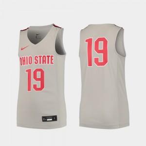Buckeyes #19 For Kids Jersey Gray High School Replica College Basketball 148619-290
