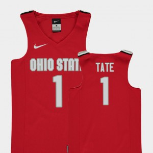 Ohio State Buckeyes #1 For Kids Jae'Sean Tate Jersey Red Official College Basketball Replica 444353-999