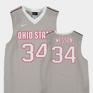Ohio State #34 For Kids Kaleb Wesson Jersey Gray Embroidery Replica College Basketball 565579-867