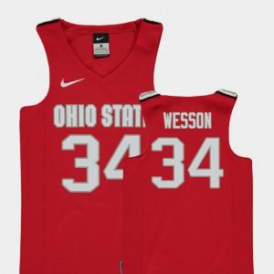 Buckeye #34 Kids Kaleb Wesson Jersey Red High School College Basketball Replica 965935-430
