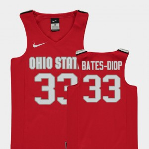 Buckeyes #33 Kids Keita Bates-Diop Jersey Red College Basketball Replica Official 439520-754